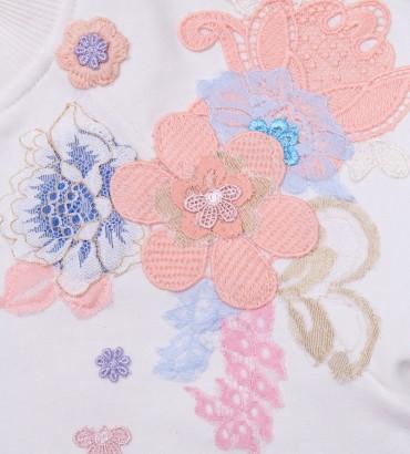 Одежда футболка белая  с кружевом Хайди 2