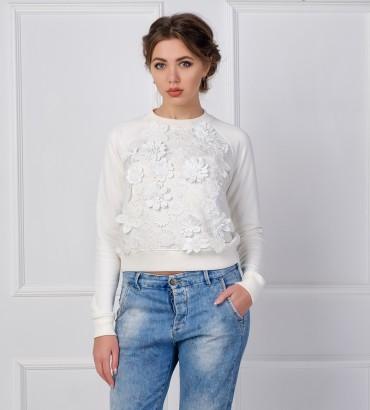 Одежда белый свитшот с кружевом Алекса