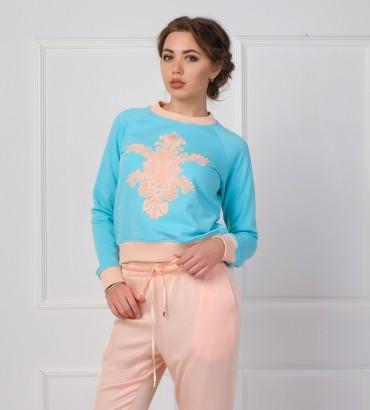 Одежда голубой свитшот с кружевом Лола