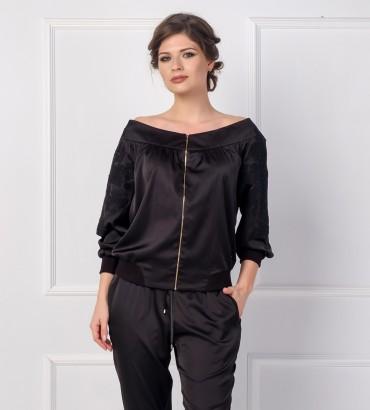 Одежда черный бомбер женский шёлк