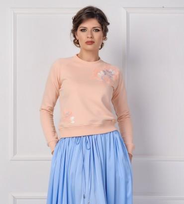 Одежда свитшот персиковый с кружевом Твигги