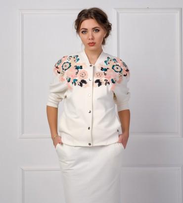 Одежда белый бомбер жіночий Каролина