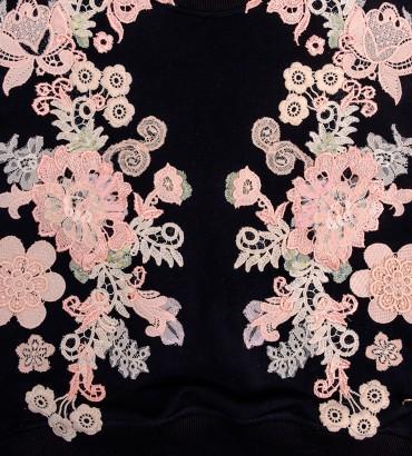 Одежда черный свитшот с кружевом Наоми 2