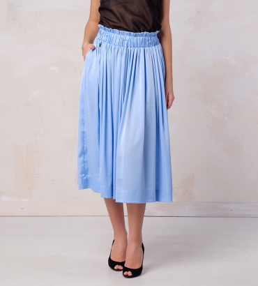 Одежда голубая юбка шелк