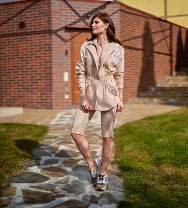 45c346ab -15% Модный женский спортивный костюм бежевого цвета с кружевами ...