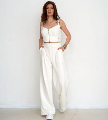 Женский костюм Лорен топ с брюками молочного цвета