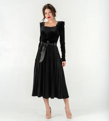 Женский костюм Беатриче комбидресс с юбкой солье черного цвета