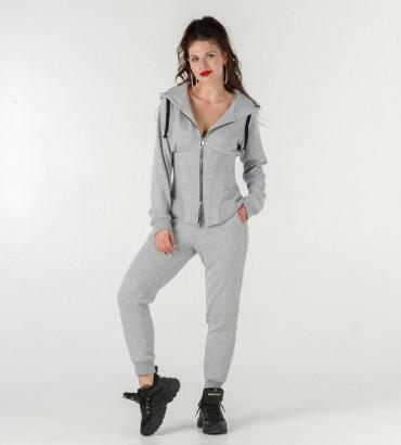 Женский свитшот-корсет Тату костюм серый