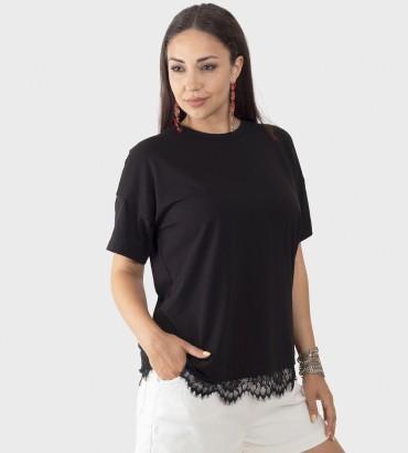 Одежда женская футболка черного цвета с кружевом Оникс