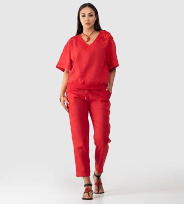 Одежда костюм красного цвета лен Итака