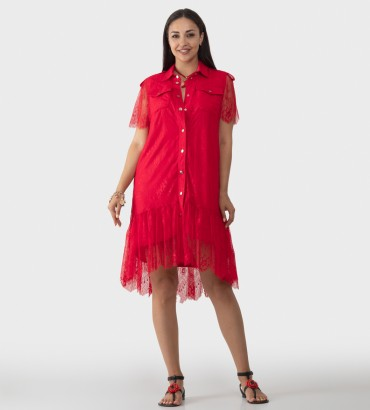 Гипюровое платье красного цвета Элион