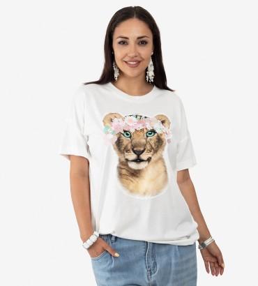 Одежда футболка белая с кружевом Львенок