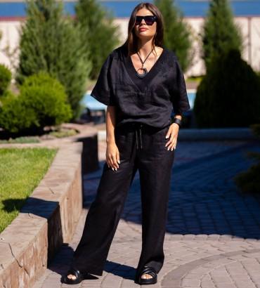Одежда костюм черного цвета Итака long лен