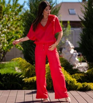 Одежда костюм красного цвета Итака long лен