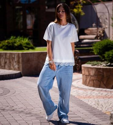 Одежда женская футболка белая с кружевом Оникс