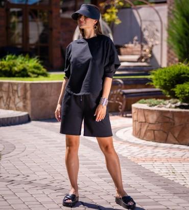 Одежда костюм черного цвета Итака с шортами