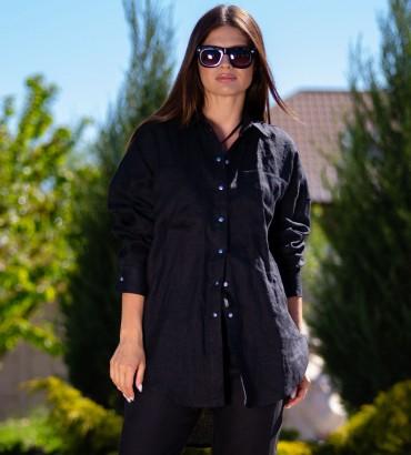 Блуза Черная Ориентал  Лен