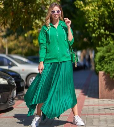 Купить толстовка цвет зеленый Ленория long