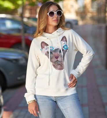 Женская одежда худи молочного цвета Кошка