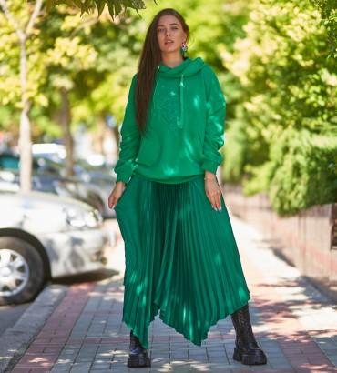 Женское худи зеленого цвета с кружевом Флора