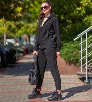 Одежда спортивный костюм черный Ленория long