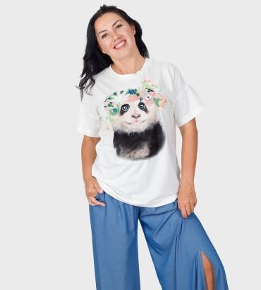 Одежда футболка белая с кружевом Панда