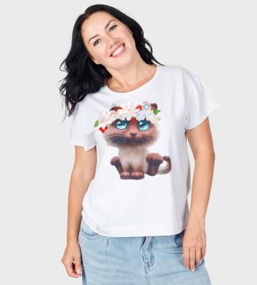 Одежда футболка белая с кружевом Котенок