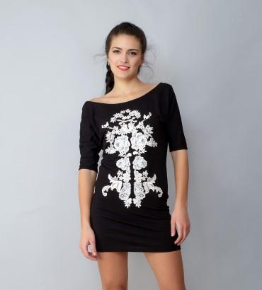 Одежда черное платье Зеркальный узор