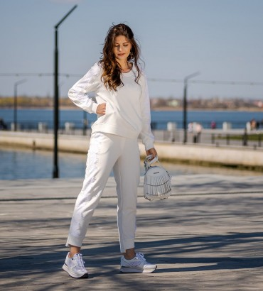 летний женский спортивный костюм белого цвета Холли