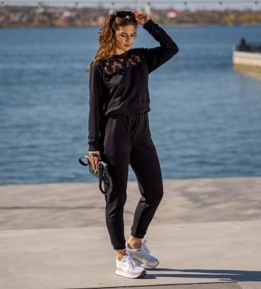 летний женский спортивный костюм черного цвета Марта