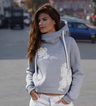 Одежда худи женский серый с кружевом Зоряна