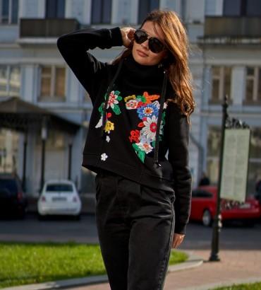 Одежда худи женский черный с кружевом Ханна