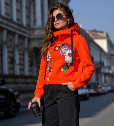 Одежда худи женский оранжевый с кружевом Ханна