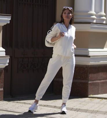 летний женский спортивный костюм белого цвета Адель long