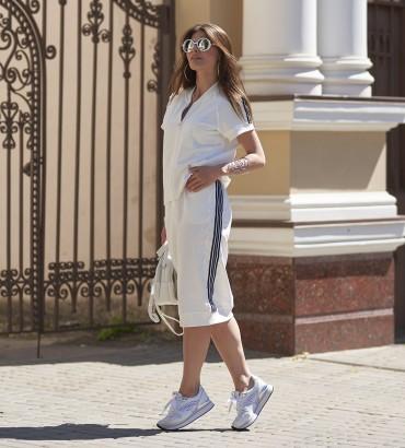 летний женский спортивный костюм с юбкой молочного цвета Адель long