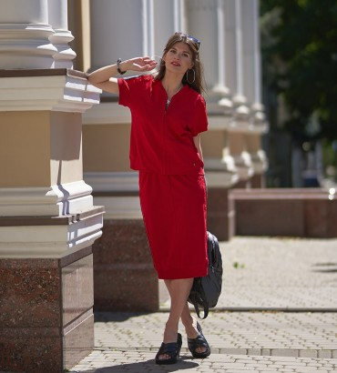 летний женский спортивный костюм с юбкой красного цвета Адель long