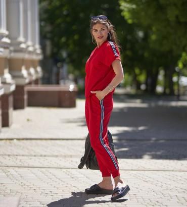 летний женский спортивный костюм красного цвета Адель long