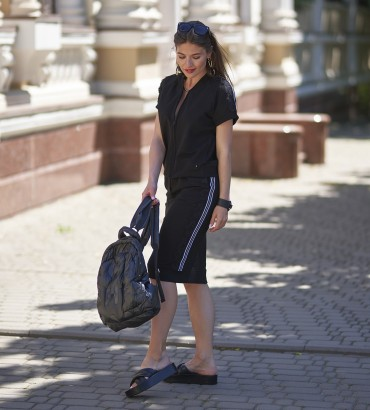 летний женский спортивный костюм с юбкой черного цвета Адель long