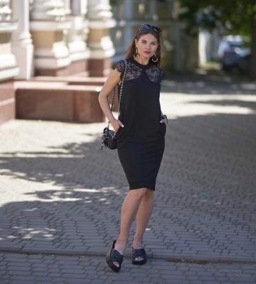 Одежда черное платье c кружевом Рокси
