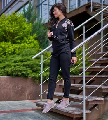 летний женский спортивный костюм  черного цвета Оливия