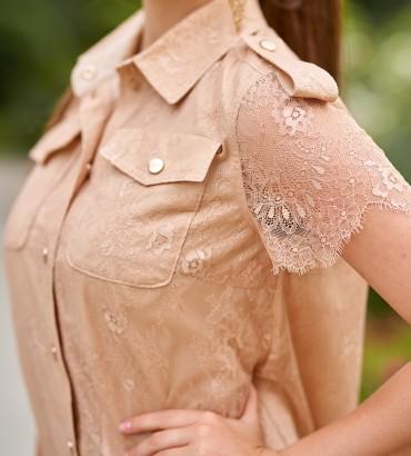 Гипюровое платье бежевого цвета Элион 2