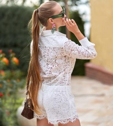 Белый гипюровый женский комбинезон Нетта 2