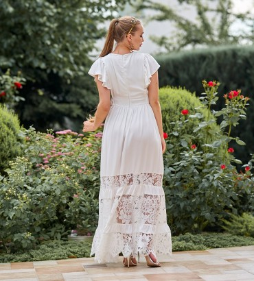 Платье в пол белого цвета с гипюровыми вставками Дейнерис  2