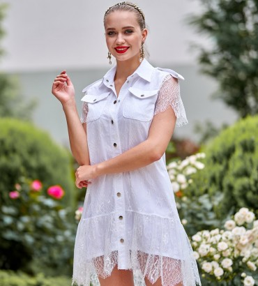 Гипюровое платье белого цвета Элион