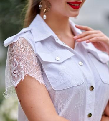 Гипюровое платье белого цвета Элион 2