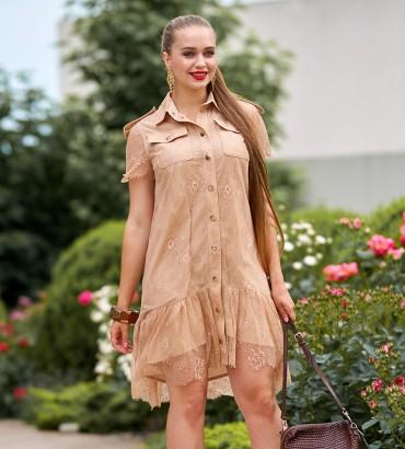 Гипюровое платье бежевого цвета Элион