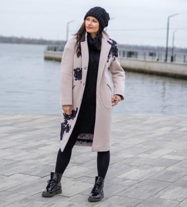 Одежда пальто женское бежевое Нэнси black