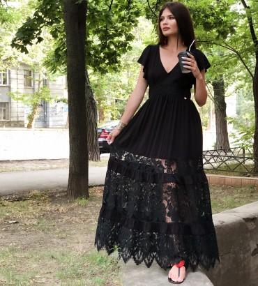 Платье в пол белого цвета с гипюровыми вставками Дейнерис