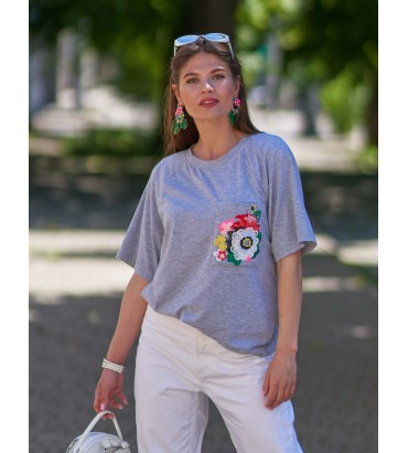 Одежда футболка серая  с кружевом