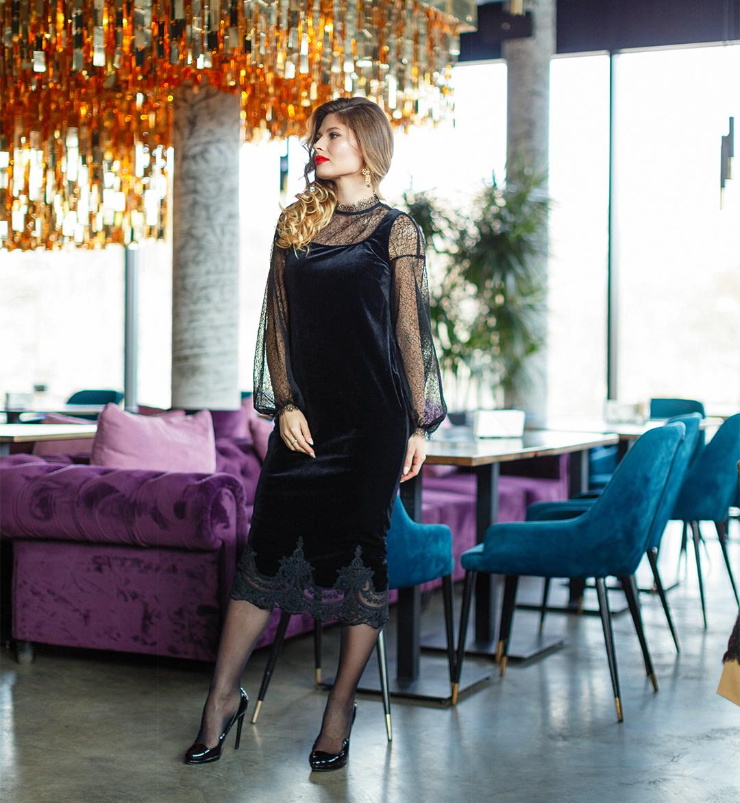 1374653a110 Бархатное Платье с Гипюром Купить в Интернет-Магазине O J-FASHION